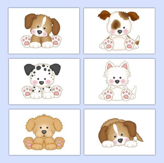 Puppy Dog Wall Art Prints Baby Girl Boy Nursery Kids Room Childrens Bedroom  #decampstudios