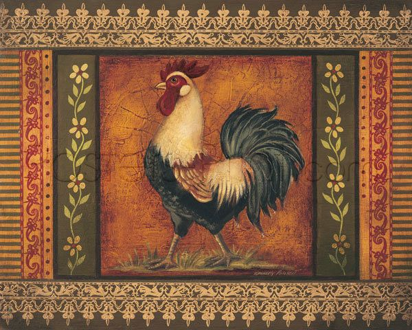 $25.99 Mediterranean Rooster V Art Print Poster by Kimberly Poloson - Fine Art Reproduction @postersprint #Postersprint #FineArt #WallArt  #Walldecor #wallPosters #Prints #Printing #Animals