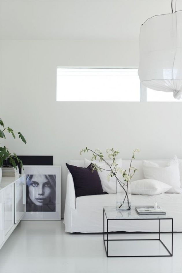 Pure White Minimalist Living Room With A Small Window And A Paper Lamp Minimalist Living Room Decor Minimalist Living Room Scandinavian Minimalist Living Room #white #minimalist #living #room