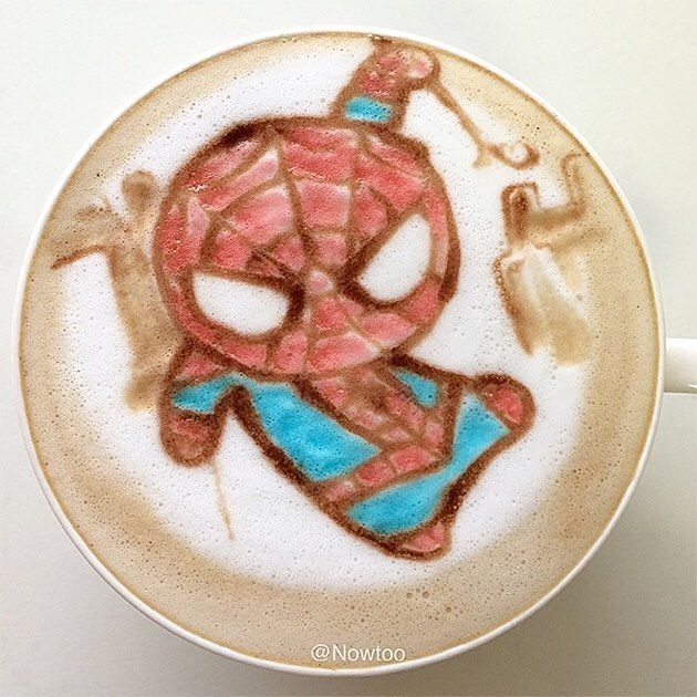 Look how cute this lil' webhead  latte art looks. We could really go for a nice cup a joe right about now.  #latterart#spiderman #spidey #webhead #spidermanhomecoming #coffee #coffeeart #marvel #cute #kawaii #latte #coffeelover #coffeetime