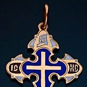 Antique Gold and Enamel Russian Orthodox Pectoral Cross
