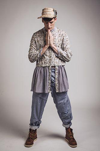 unisex zAhrada baggy puzzle kalhoty / blue