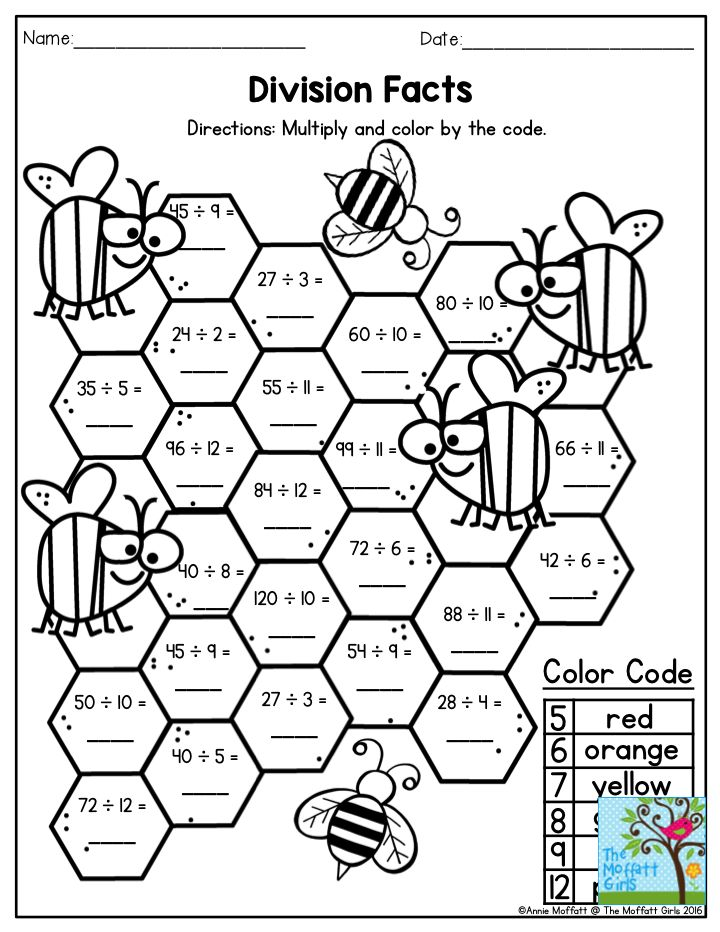 Division Facts Multiply and color by code Math