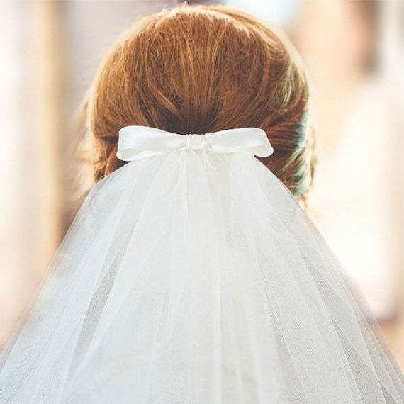 Vintage Inspired Bow Veil with Blusher - Shoulder Elbow Fingertip Waltz Chapel Cathedral - cut edge