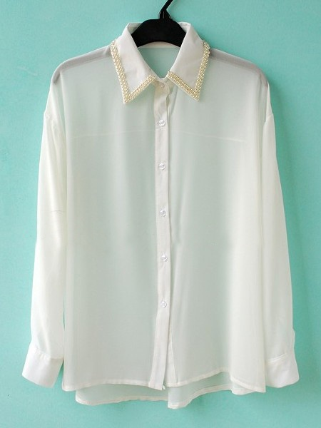 White Pearls Wing Collar Long Sleeve Chiffon Shirt