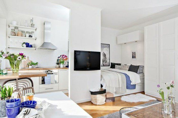 amenager studio 20m2, sol en parquet clair, murs blancs sol en parquet clair