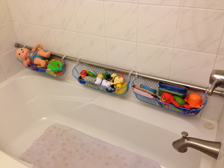 Shower curtain rod and curtain rings with 3 dollar store baskets ...