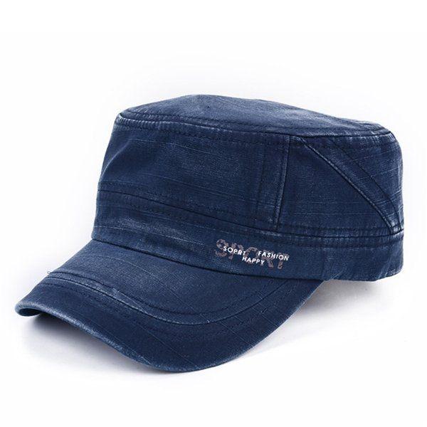 Vintage Military Men Outdoor Cotton Blend Plain Army Hat Adjustable Flat Cap at Banggood