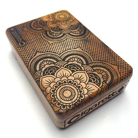 Check out Mandala floral Deco Java Teak Wooden Cigarette Case, Cigarette Box, Cigarette Holder, Card Holder on cigarettoss