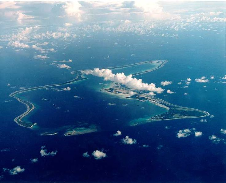 View of Diego Garcia, showing military base, British Indian Ocean Territory