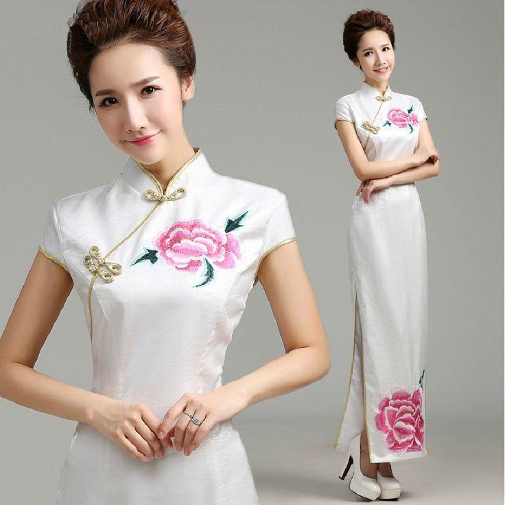 Cheap Rojo de alta hendidura vestidos de raso bordado de lujo cheongsam qipao largo cheongsam qipao vestidos ritual blanco vestido cheongsam chino, Compro Calidad Cheongsam directamente de los surtidores de China:                        Nuestro tiempo de servicio: