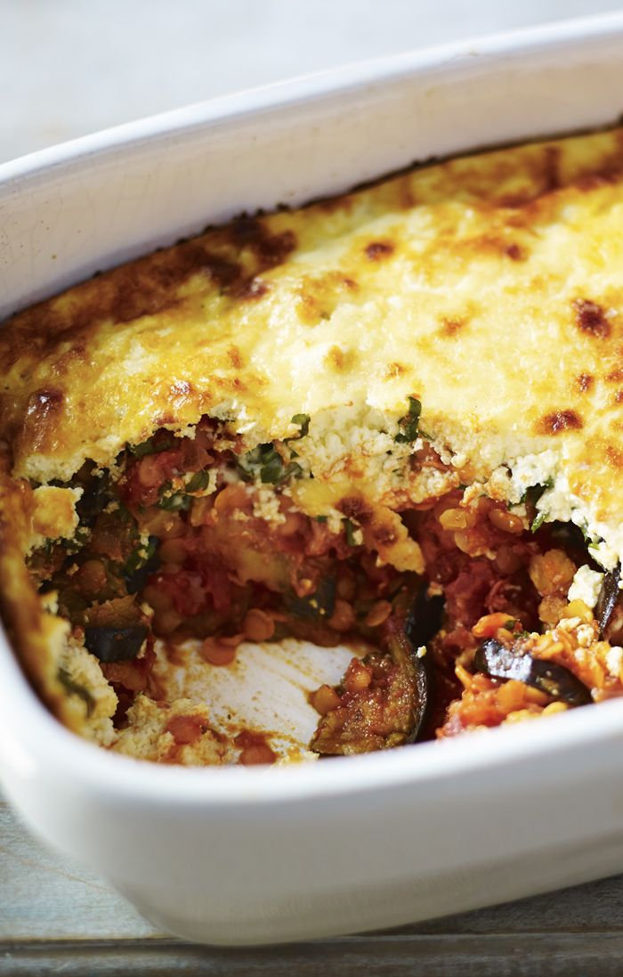 A fantastic veggie moussaka with aubergine and red lentil is a great vegetarian winter warmer.