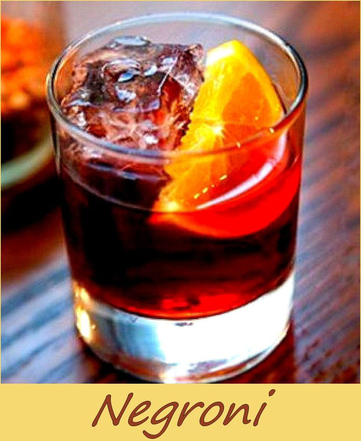 A strong cocktail from Italy Ingredients 1/3 gin 1/3 sweet vermouth 1/3 campari bitter a half orange slice for garnish source: http://www.huffingtonpost.com/liquorcom/the-negroni-5-ways_b_2377897.html Related
