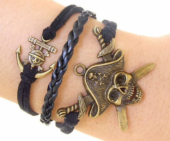 Pirate Bracelet,Anchor Bracelet,Charm Bracelet, Bronze bracelet ,Adjustable Bangle Bracelet,Imitation leather Bracelet, Bone Bracelet