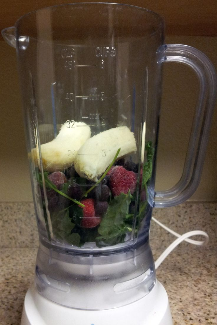 2 cups kale (loosely packed) 1 cup frozen strawberries (fresh could be used as well)    1/2 cup frozen blueberries (fresh could be used as well) 1 banana 1 tbsp whole ground flaxseed meal 1 cup almond milk 2 tbsp agave nectar (I like my smoothies sweet, and this one was plenty sweet enough.  You may want to start with 1 tbsp and add more to taste)