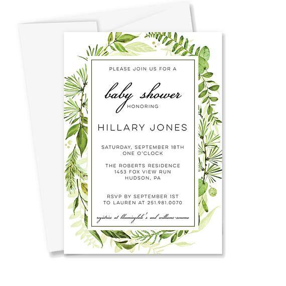 Gender Neutral Baby Shower Greenery Baby Shower Invitation