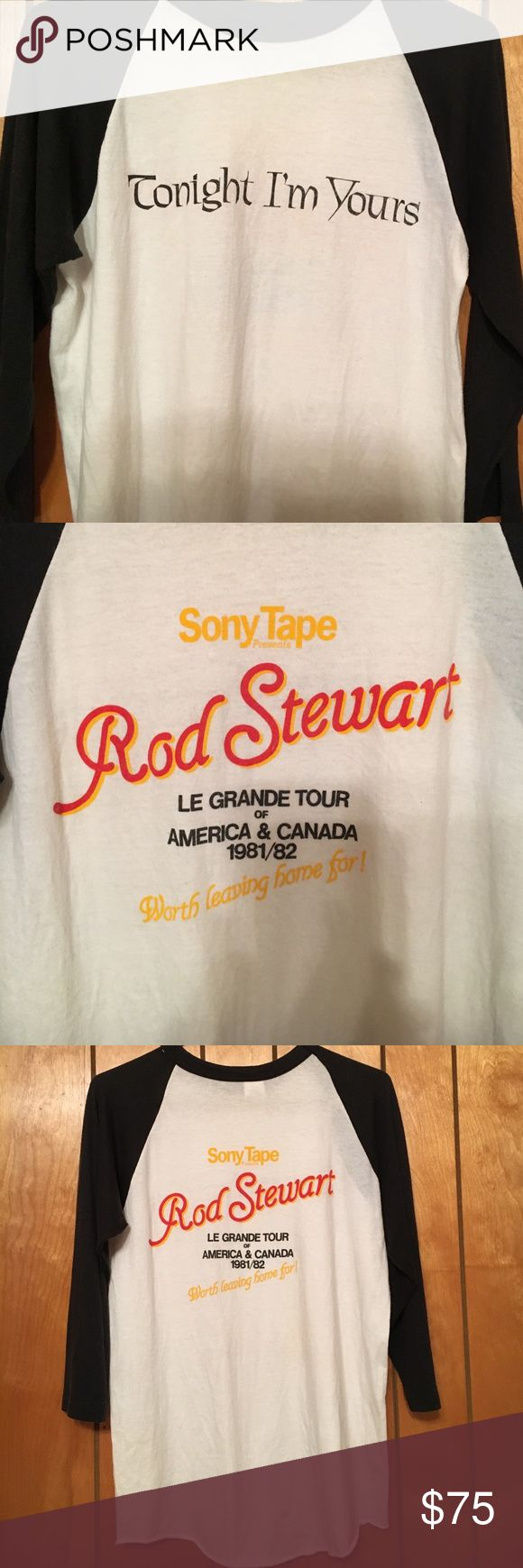 Vintage Rod Stewart 1981/82 concert tshirt Rod Stewart 1981/82 Tonite I'm Yours concert baseball TSHIRT. Sony Tape sponsored this LeGrande Tour of America and Canada. Vintage tshirt because I was there!!! Nice condition!‼️ BANTAMS Other