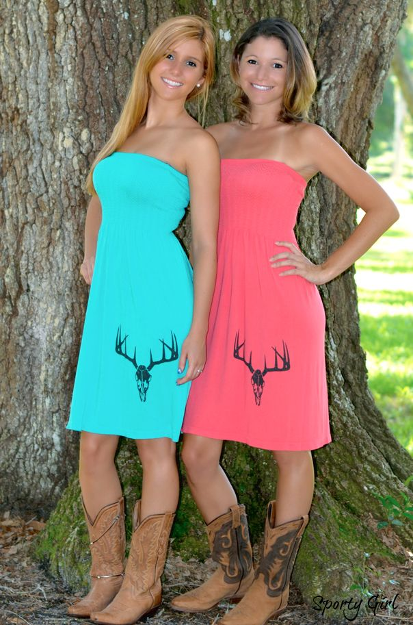 Coral and teal deer skull ONESIZE dress