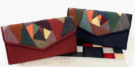 Patchwork wallet , done by various hand sewing method.   Material : Korean quilting thread Size : 4.1x7.7 inches  Vibrant colors Great gift idea