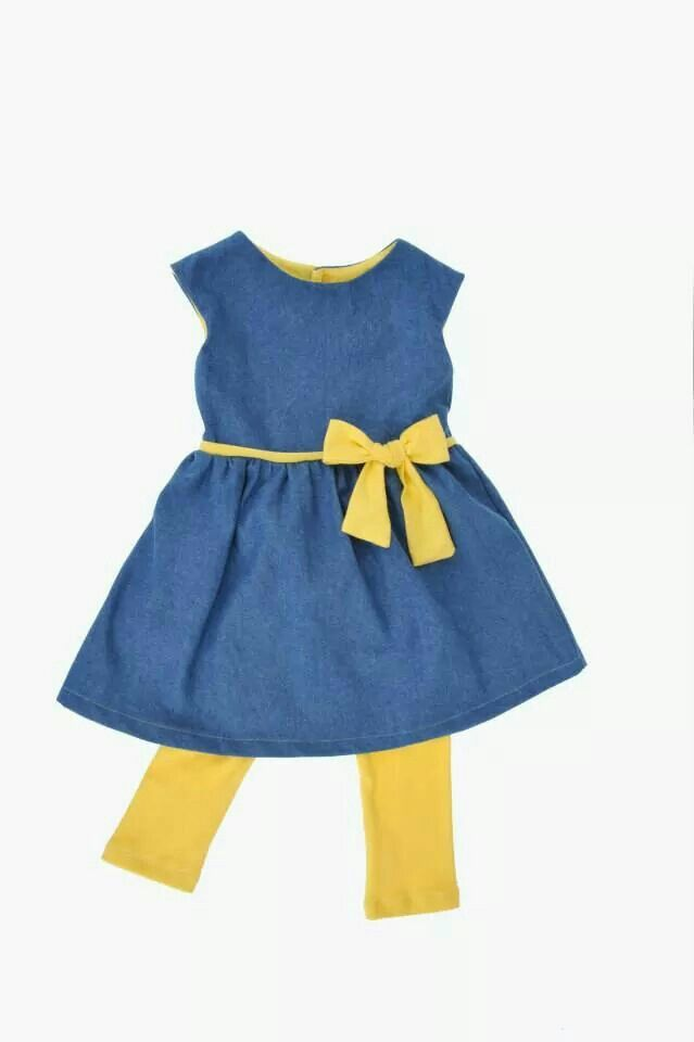 Immink's party dress, denim with jersey trim.