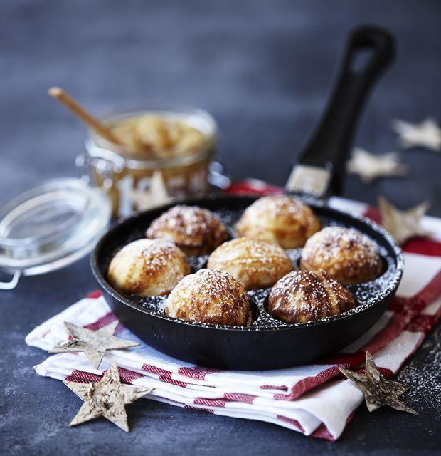 Hjemmelavede æbleskiver med marcipan