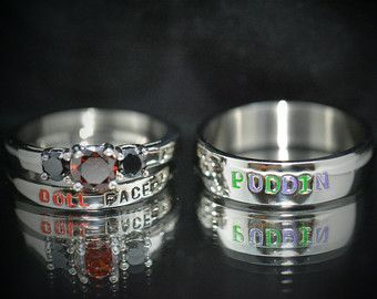 Doll face and Puddin,Harley and Joker Nickname Rings comic inspired Black Diamond CZ & Garnet CZ,Stainless Steel Wedding set Comic Villians --Be your own Whyld Girl with a wicked tee today! http://whyldgirl.com/tshirts