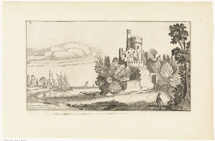 Simon Poelenburg   Landschap met kasteel, Simon Poelenburg, Henry le Roy, 1602 - 1649   Aan de rand van het water bevindt zich op een hoge rots een kasteel. Op het water liggen verschillende boten. Op de achtergrond een toren met bijgebouwen. Op de voorgrond twee mannen.