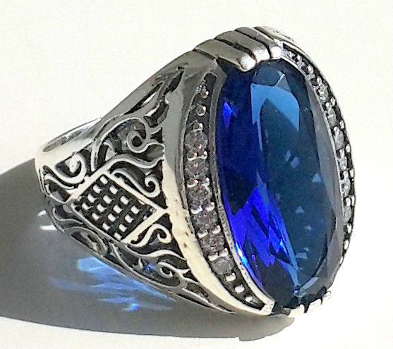 925 STERLING SILVER MEN'S RING WITH TOTALLY HANDMADE ABSOLUTELY REAL SAPPHIRE #Handmade