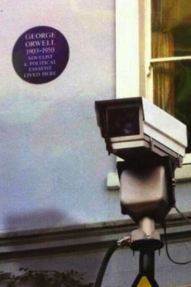 The 28 Most Ironic Things That Have Ever Happened-- As an english major, I had to post the main picture as the George Orwell book with a security camera ;)