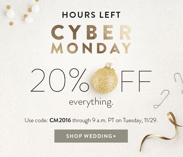 Cyber Monday 20% OFF everything.