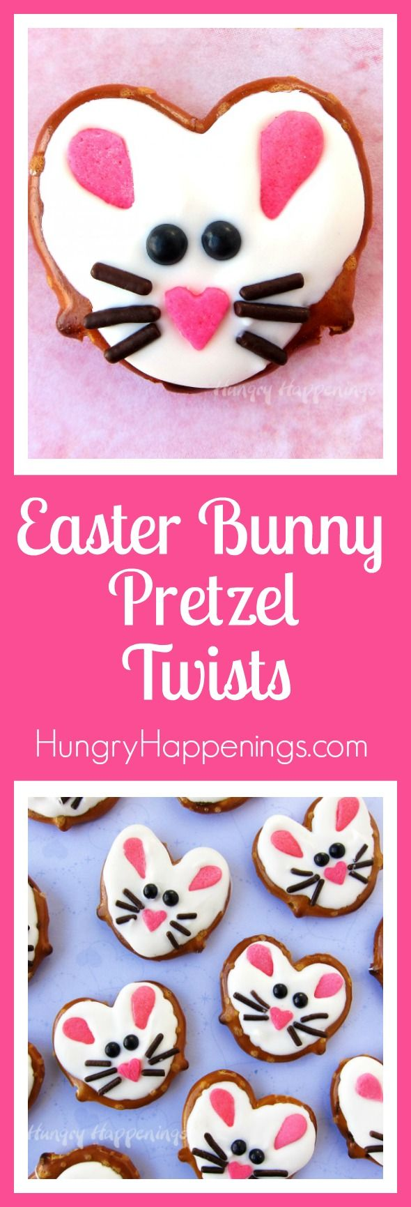 These salty and sweet Easter Bunny Pretzel Twists are so darn cute and easy to make using heart shapes sprinkles, chocolate jimmies, and black candy pearls. These cute treats are perfect basket fillers! Stop by HungryHappenings.com to watch the video tutorial.