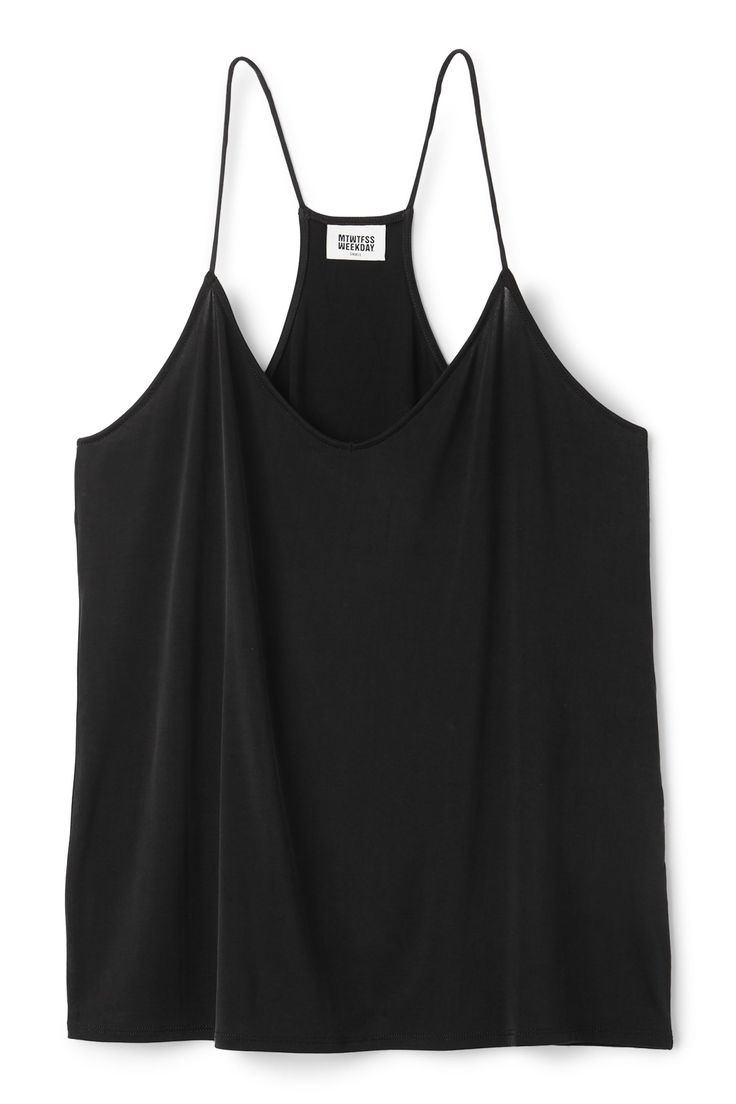<p>The Cupro Singlet is a wear-with-everything Weekday classic made of silky and stretchy material.  This loose fit singlet with spaghetti straps and a