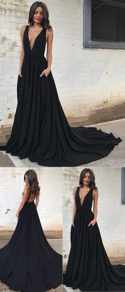 9375082a4b Black deep v neck long formal gown women evening dresses