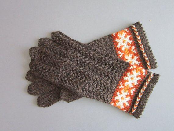 Gloves Hand Knit Gloves Brown Wool Folk Gloves by AnitasHandmade