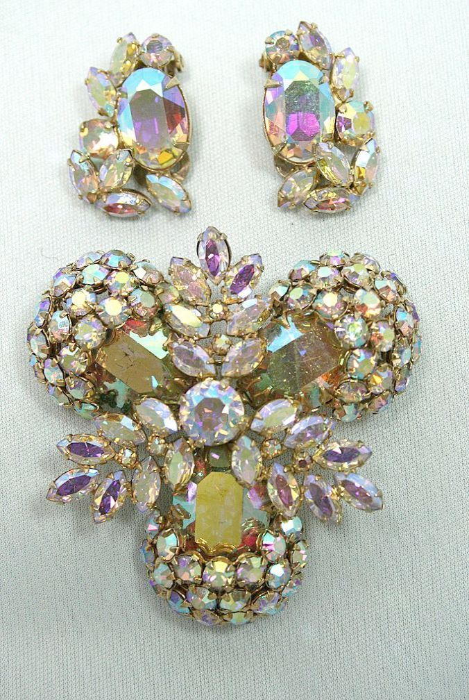 Bold Signed Sherman Brooch Earring Set