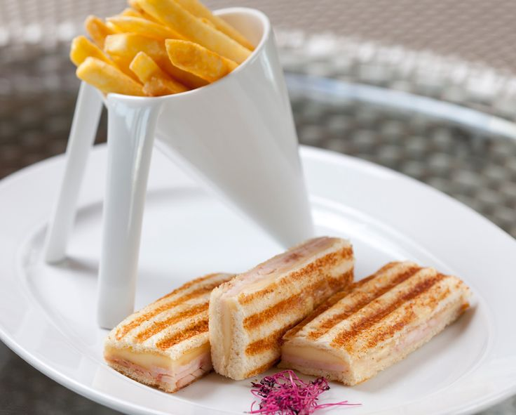 Turkey ham and cheese toast with French fries