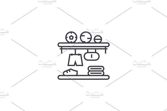 closet shelves vector line icon, sign, illustration on