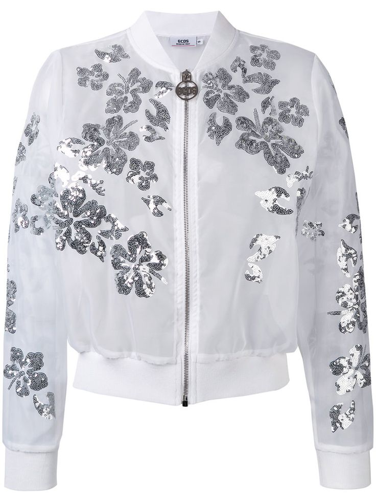 ¡Cómpralo ya!. Gcds - Floral Sequin Bomber Jacket - Women - Polyester - S. White floral sequin bomber jacket from gcds. Size: S. Gender: Female. Material: Polyester. , chaquetabomber, bómber, bombers, bomberjacke, chamarrabomber, vestebomber, giubbottobombber, bomber. Chaqueta bomber  de mujer color blanco de GCDS.