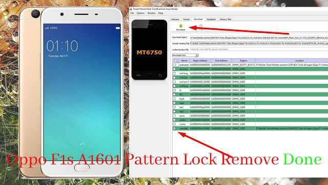 Oppo F1s FRP Unlock Tool And File   How to remove. Pattern