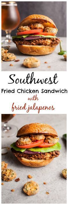 This Southwest fried chicken sandwich with fried jalapenos is a chicken sandwich dream come true. The chipotle cilantro lime ranch sauce packs a ton of flavor. The buttermilk fried chicken is crispy on the outside and tender and juicy on the inside. Fried jalapenos add the kick. Fresh tomato, lettuce, and red onion top it off.