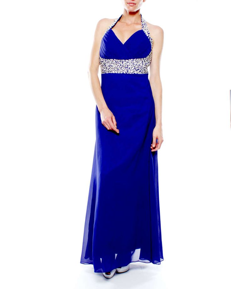 Snow White Halter V-neck Sparkle Evening Gown - Royal Blue | Buy Online in South Africa | takealot.com