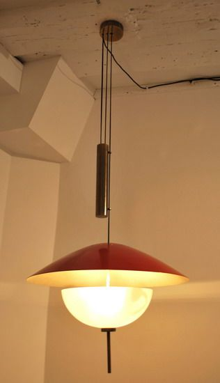 3040 Pierre Disderot | Brass mount and counterweight, lacquered metal lampshade, white opaline glass diffuser c.1955