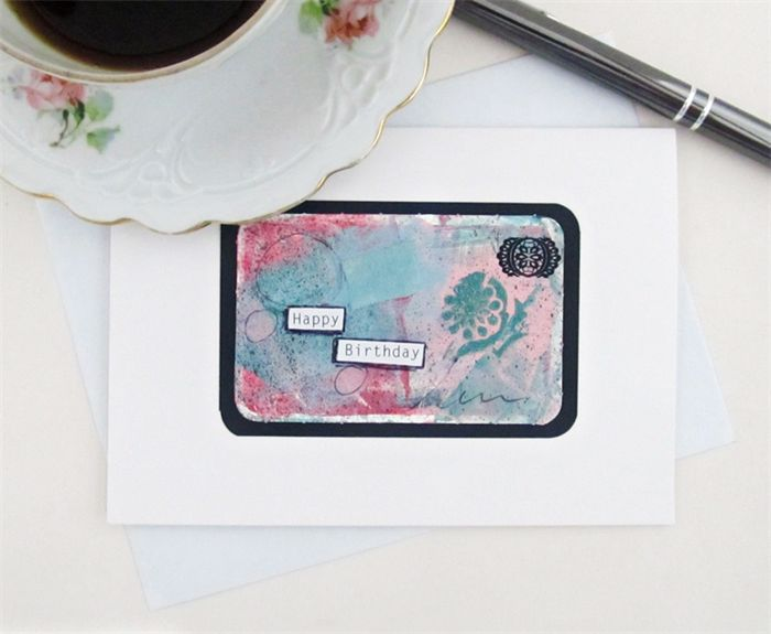 Pale pink and emerald green hues mixed media greeting card - Happy Birthday www.madeit.com.au/TupsyTurvy