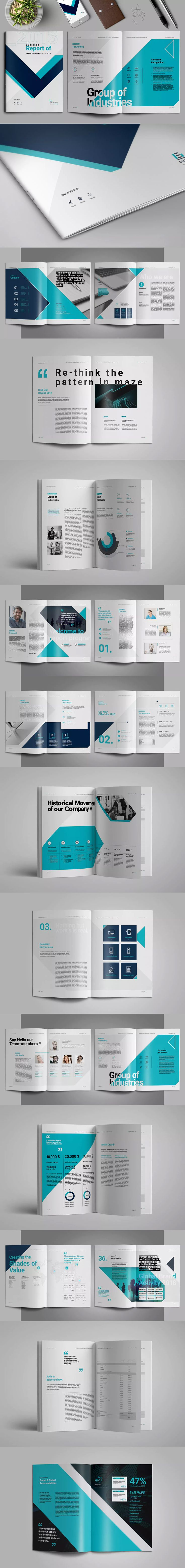 Report Brochure Template InDesign INDD - A4 and US Letter Size