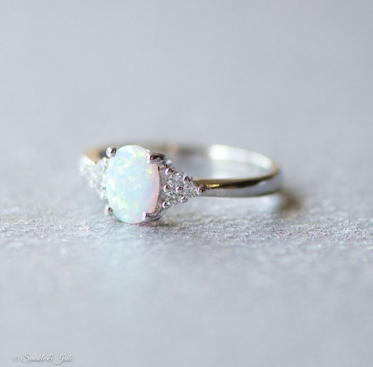 White Opal and CZ Accented Sterling Silver Ring - Sparkle & Jade, SparkleAndJde.com, [product_sku] #Jewelry