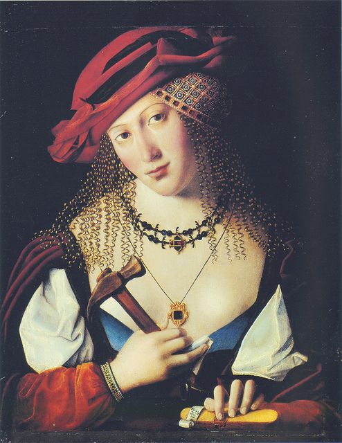 Bartolomeo Veneto [~1480-~1530] - Donna Ebrea con gli attributi di Joele- Hebrew woman with the attributes of Jael (hammer & tent peg) by petrus.agricola, via Flickr