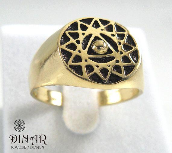Gold signet ring, 14k yellow gold 'king salomon' signet ring, handmade antique ring