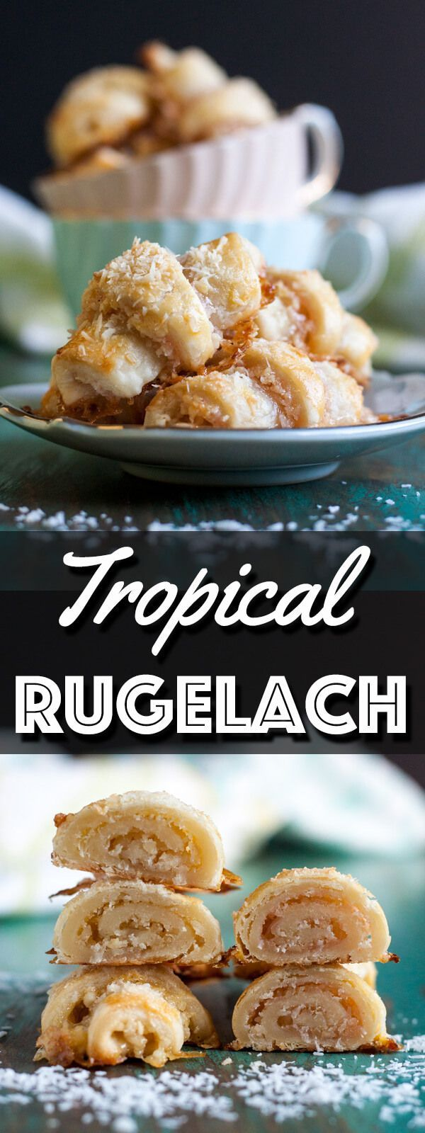 Tropical Rugelach are delicious little bites of tender pastries filled with tropical fruit butter, coconut flake and macadamia nut. They taste like a vacation in your mouth.   wildwildwhisk.com #rugelach #tropical