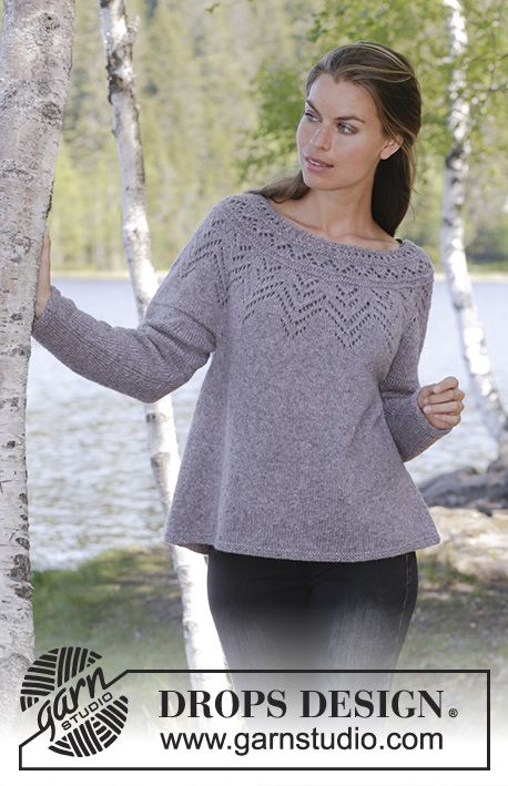 463390b89 Agnes Sweater   DROPS 197-16 - Knitted jumper with round yoke in DROPS Sky.  The piece is worked top down with lace pattern. Sizes S - XXXL.