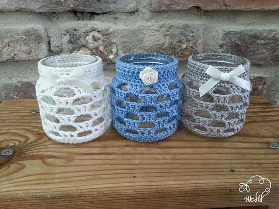 Crochet candle holder jar cozy tea light holderjar cover by Lulaor